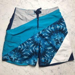 Op Blue Swim Trunks Bathing Suit Board Shorts 32